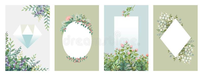 Αφίσες πρασινάδων Καθιερώνοντα τη μόδα floral πλαίσια, σύνορα των πράσινων φύλλων και κλάδοι, κενές γαμήλιες κάρτες Διανυσματική  ελεύθερη απεικόνιση δικαιώματος