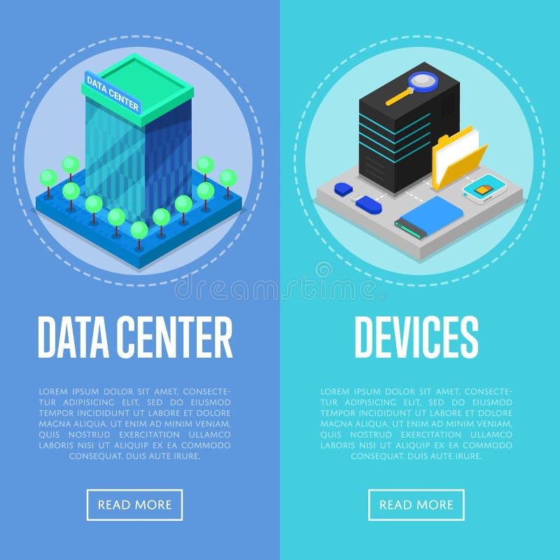 Αφίσες συσκευών κέντρων δεδομένων και υπολογιστών απεικόνιση αποθεμάτων