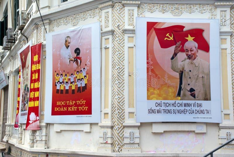 Αφίσες του Ho Chi Minh στοκ φωτογραφία
