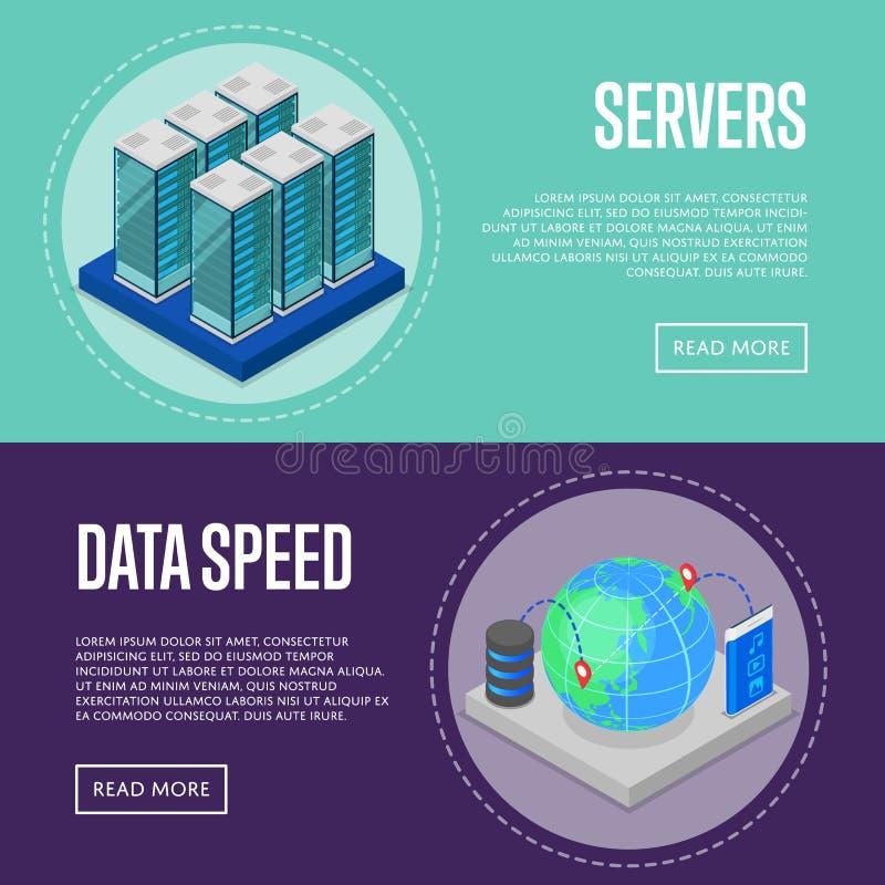 Αφίσες υπηρεσίας επικοινωνίας υψηλής ταχύτητας απεικόνιση αποθεμάτων