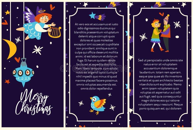 Αφίσες Χαρούμενα Χριστούγεννας με το ζεύγος και cupid το κορίτσι αγγέλου απεικόνιση αποθεμάτων