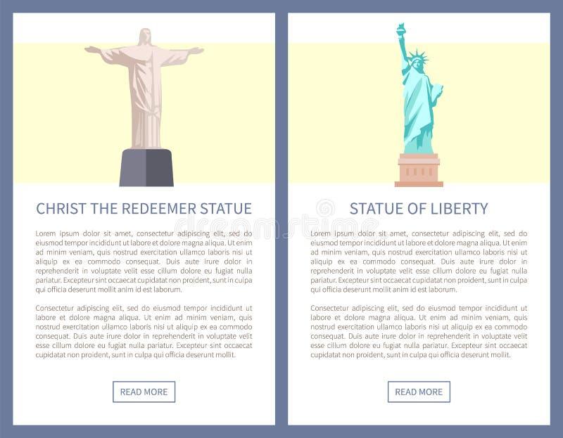 Αφίσες Promo αγαλμάτων απελευθερωτών και ελευθερίας Χριστού διανυσματική απεικόνιση