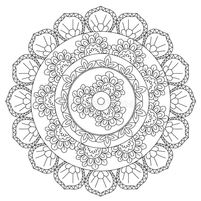 Αφαίρεση Mandala περιλήψεων χρωματισμού απεικόνιση αποθεμάτων