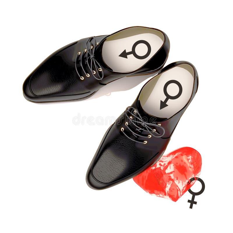 Αφαιρέστε την έννοια των μαύρων παπουτσιών που βρίσκονται στην καρδιά γυναικών ` s Είναι διανυσματική απεικόνιση