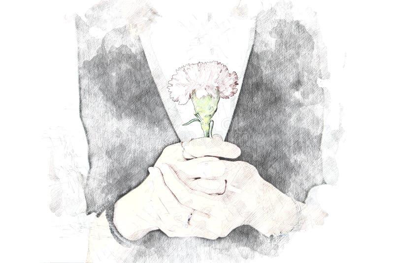 Αφαιρέστε τις γυναίκες που κρατούν το ανθίζοντας υπόβαθρο λουλουδιών ελεύθερη απεικόνιση δικαιώματος