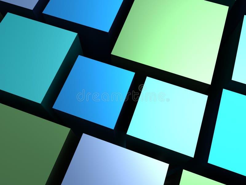 αφαιρέστε τους μπλε κύβους ανασκόπησης πράσινους ελεύθερη απεικόνιση δικαιώματος
