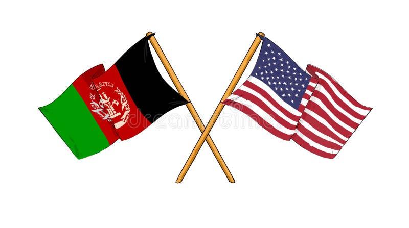 αφγανική αμερικανική φιλί& διανυσματική απεικόνιση