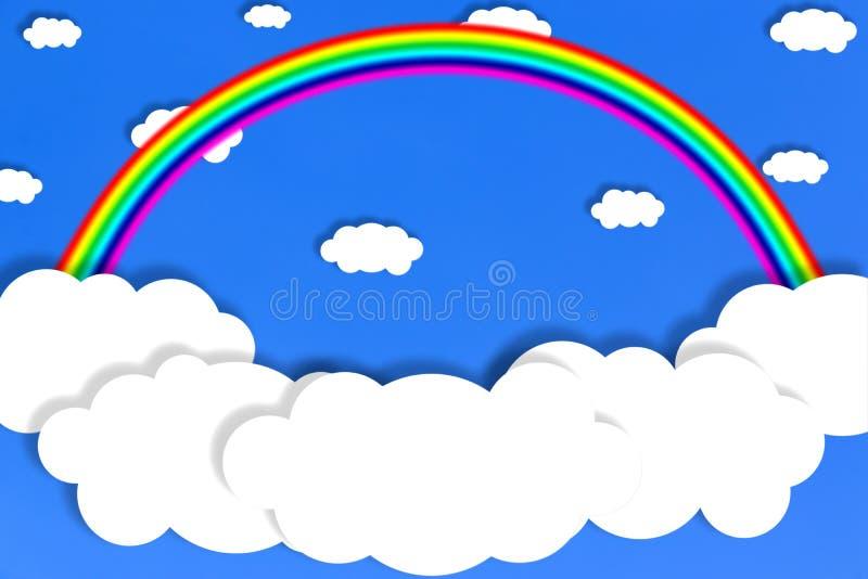 Αφηρημένα άσπρα σύννεφα και ουράνιο τόξο στο υπόβαθρο μπλε ουρανού διανυσματική απεικόνιση