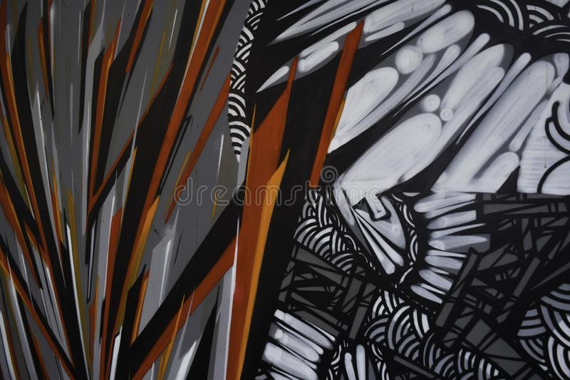 Αφηρημένα έργα ζωγραφικής γκράφιτι στο υπόβαθρο συμπαγών τοίχων στοκ φωτογραφίες με δικαίωμα ελεύθερης χρήσης
