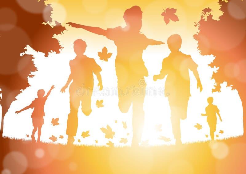 Αφηρημένα αγόρια που τρέχουν στα φύλλα φθινοπώρου διανυσματική απεικόνιση