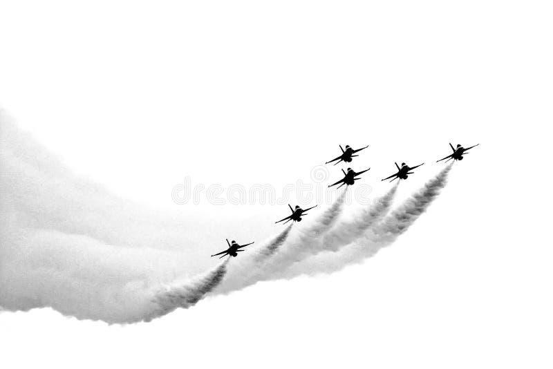 αφηρημένα αεριωθούμενα αεροπλάνα σχηματισμού στοκ φωτογραφίες