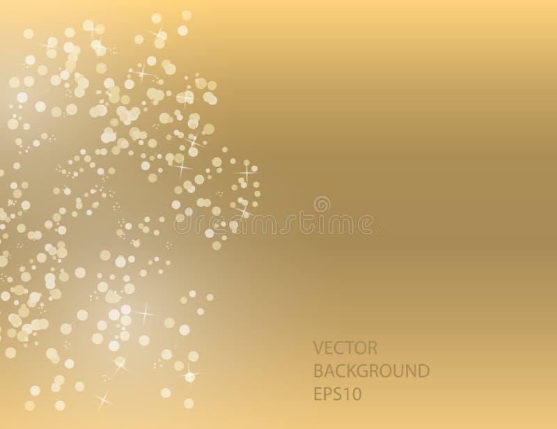 Αφηρημένα λαμπιρίζοντας αστέρια στο χρυσό υπόβαθρο διακοπών απεικόνιση αποθεμάτων