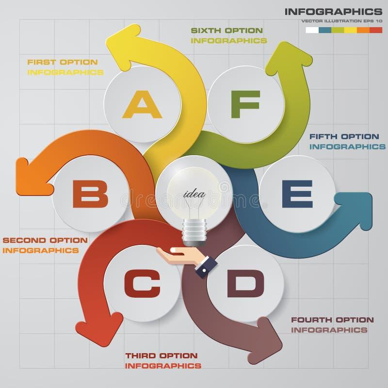 Αφηρημένα 6 βήματα με το χέρι που παρουσιάζει λάμπα φωτός υπογράφουν τη χρήση προτύπων για το υπόβαθρο infographics ελεύθερη απεικόνιση δικαιώματος
