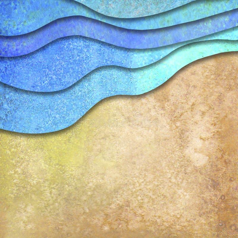 Αφηρημένα γεωμετρικά κύματα θάλασσας θερινού watercolor και υπόβαθρο παραλιών άμμου ελεύθερη απεικόνιση δικαιώματος