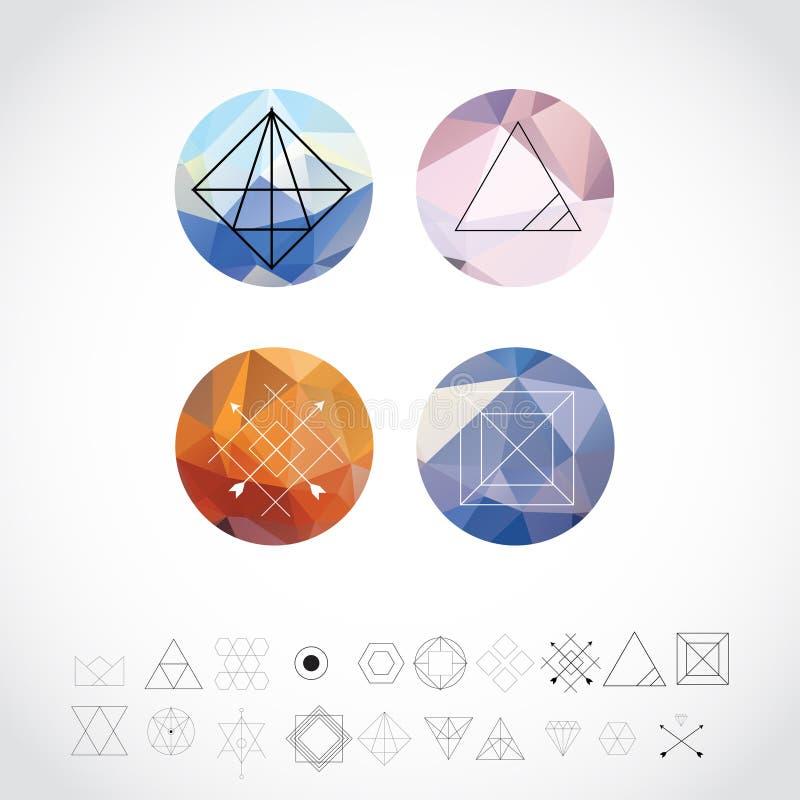 Αφηρημένα γεωμετρικά σχέδια που τίθενται με τα εικονίδια ύφους Hipster για το σχέδιο λογότυπων Αναδρομικά σημάδια γραμμών για Log στοκ εικόνες