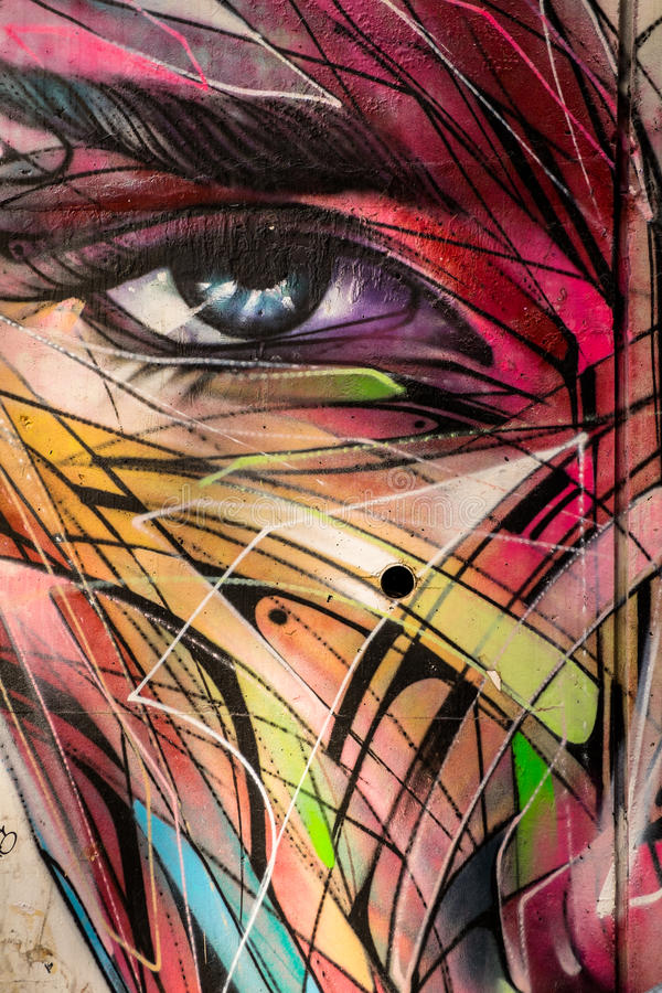 Αφηρημένα γκράφιτι ματιών και προσώπου διανυσματική απεικόνιση