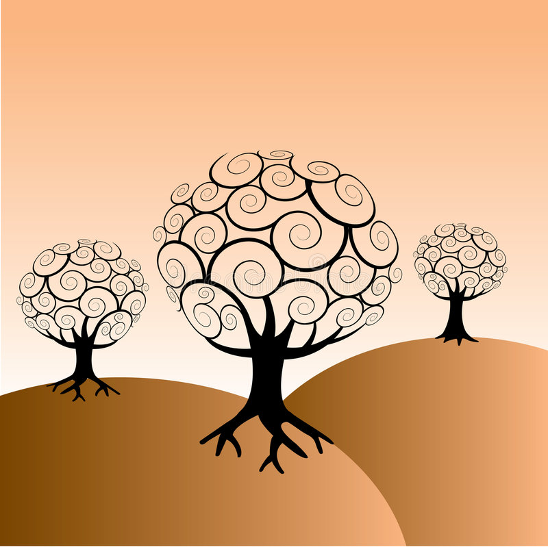 αφηρημένα δέντρα ανασκόπηση&s απεικόνιση αποθεμάτων