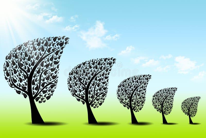 αφηρημένα δέντρα μπλε ουρα διανυσματική απεικόνιση