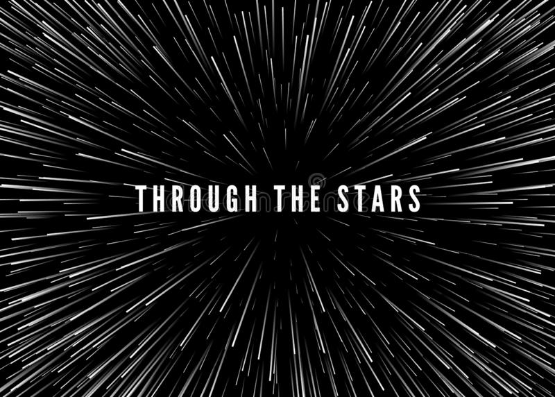 Αφηρημένα διάστημα στρεβλώσεων και χρονικό υπόβαθρο Ταξίδι μέσω του κόσμου - υπερδιάστημα Μυθιστοριογραφία του Sci Fi r διανυσματική απεικόνιση