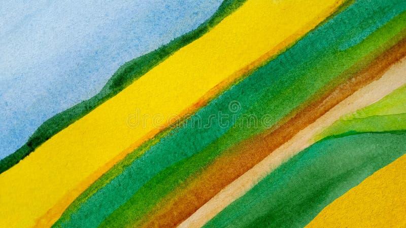 Αφηρημένα διαγώνια συρμένα watercolor λωρίδες τοπίων υποβάθρου αγροτικά της ταινίας στο μπλε, κίτρινος, πράσινος και καφετής διανυσματική απεικόνιση