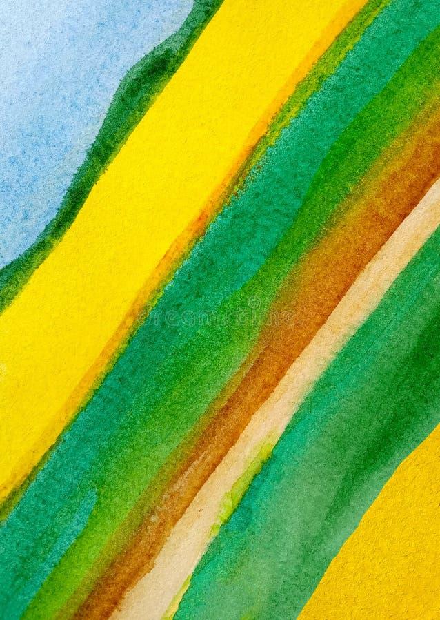 Αφηρημένα διαγώνια συρμένα watercolor λωρίδες υποβάθρου της ταινίας στο μπλε, κίτρινος, πράσινος και καφετής διανυσματική απεικόνιση