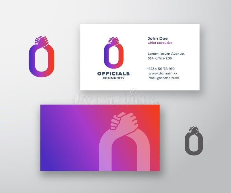 Αφηρημένα διανυσματικά λογότυπο ανώτερων υπαλλήλων και πρότυπο επαγγελματικών καρτών Χειραψία φίλων, συνεργατών ή αδελφών που ενσ απεικόνιση αποθεμάτων
