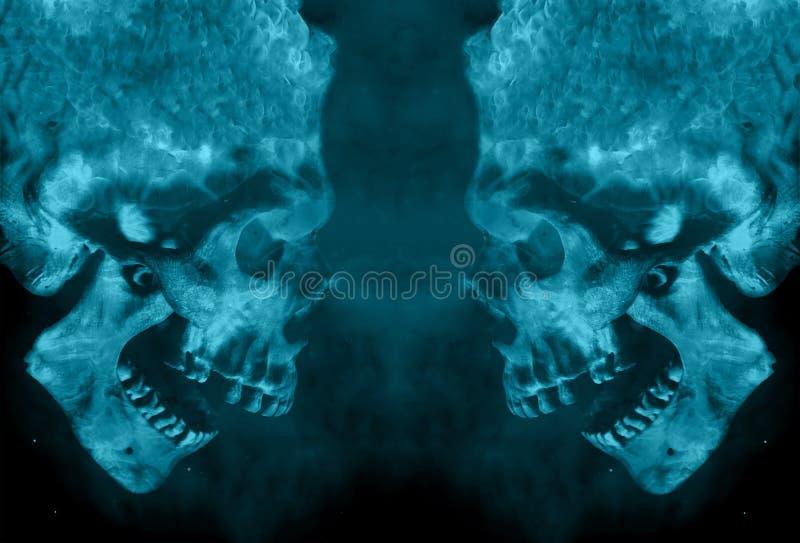 Αφηρημένα δύο κακά ισχυρά φλογερά κρανία δαιμόνων που αντιμετωπίζουν μεταξύ τους απεικόνιση αποθεμάτων