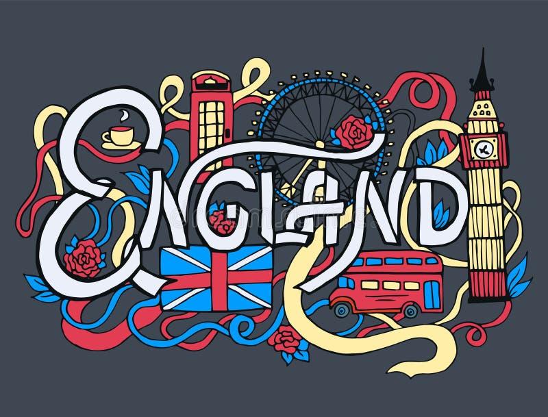 Αφηρημένα εγγραφή χεριών τέχνης της Αγγλίας και doodles υπόβαθρο στοιχείων Διανυσματική απεικόνιση για το ζωηρόχρωμο πρότυπο για  ελεύθερη απεικόνιση δικαιώματος