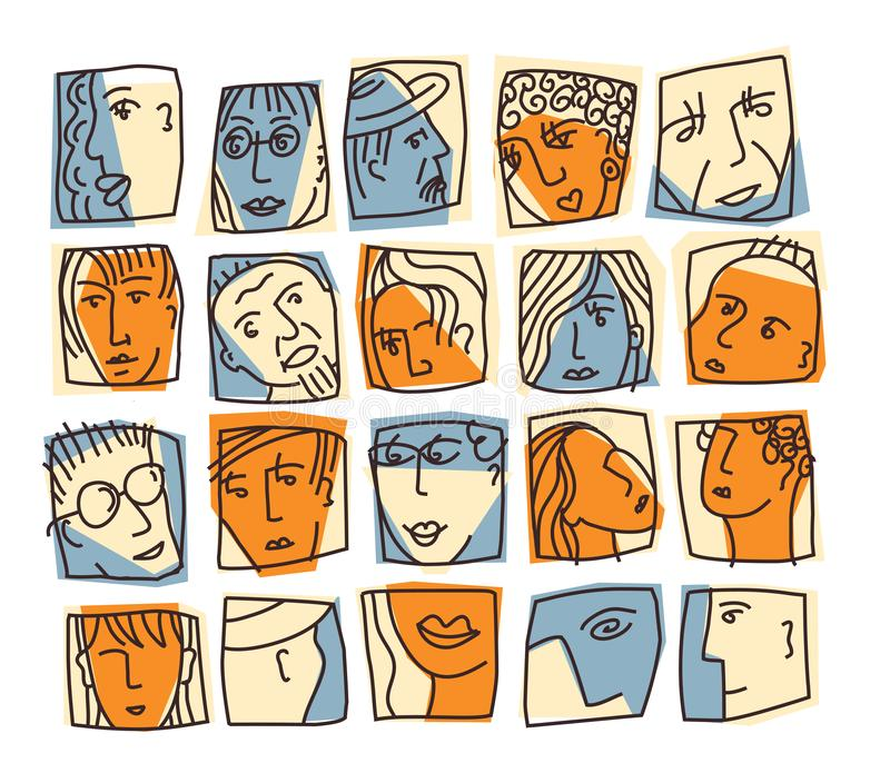 Αφηρημένα εικονίδια χαρακτήρων ειδώλων προσώπων ανθρώπων καθορισμένα διανυσματική απεικόνιση