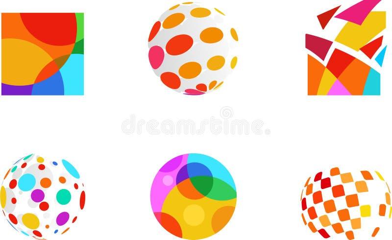 Αφηρημένα εικονίδια χρώματος ελεύθερη απεικόνιση δικαιώματος