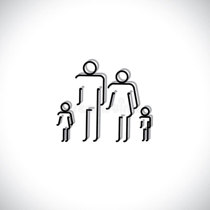 Αφηρημένα εικονίδια ανθρώπων τετραμελών οικογενειών που χρησιμοποιούν το σχέδιο γραμμών ελεύθερη απεικόνιση δικαιώματος