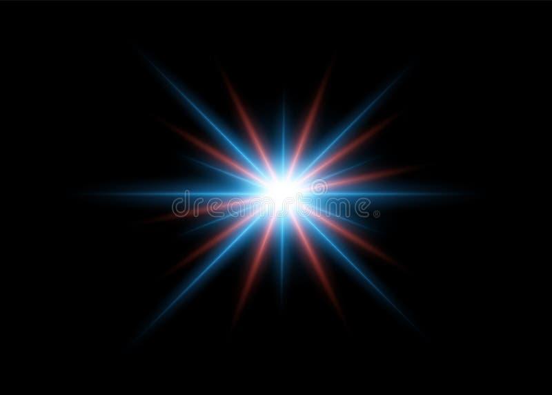 Αφηρημένα ελαφριά αποτελέσματα λάμψης με τις κόκκινες και μπλε φωτεινές ακτίνες Στοιχείο σχεδίου που απομονώνεται στο σκοτεινό υπ απεικόνιση αποθεμάτων