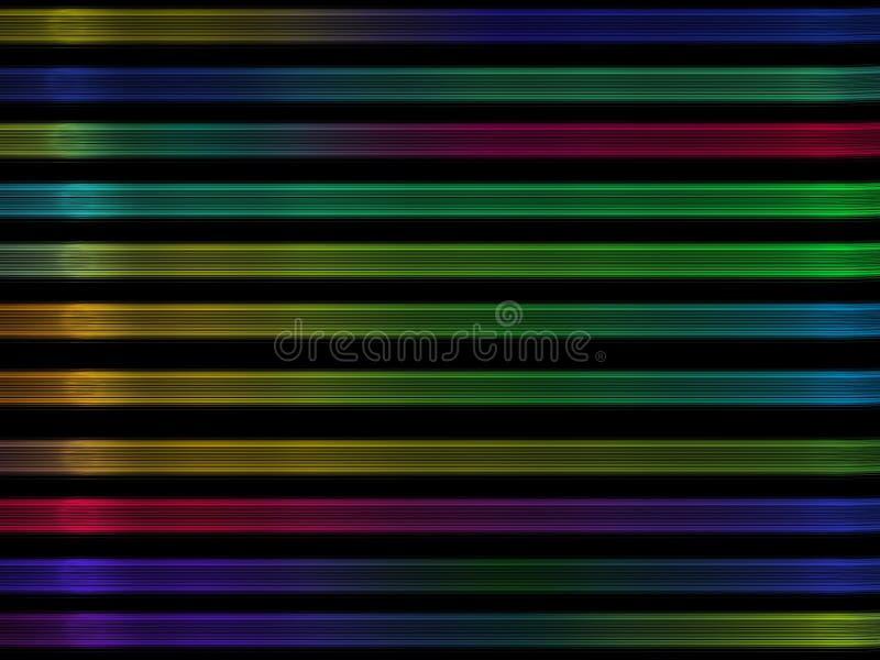 Αφηρημένα ζωηρόχρωμα ελαφριά λωρίδες στο μαύρο υπόβαθρο διανυσματική απεικόνιση
