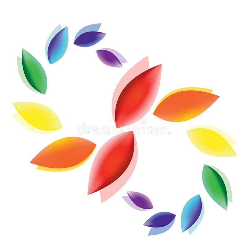 Αφηρημένα ζωηρόχρωμα κυματίζοντας πέταλα Ένα σύμβολο της αγνότητας, της ειρήνης, της αγάπης και της ευτυχίας ελεύθερη απεικόνιση δικαιώματος
