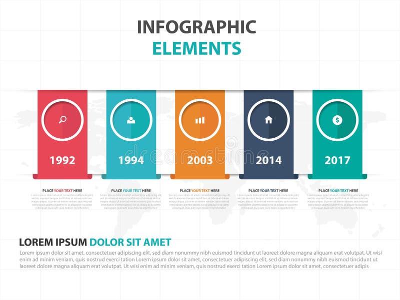 Αφηρημένα ζωηρόχρωμα στοιχεία Infographics επιχειρησιακής υπόδειξης ως προς το χρόνο ετικετών, παρουσίασης διανυσματική απεικόνισ διανυσματική απεικόνιση