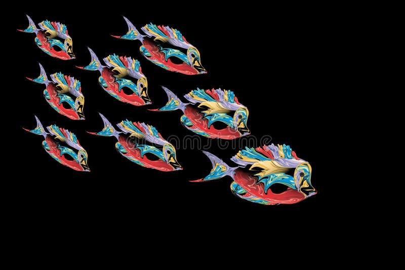 Αφηρημένα ζωηρόχρωμα ψάρια με το μαύρο υπόβαθρο επίσης corel σύρετε το διάνυσμα απεικόνισης διανυσματική απεικόνιση