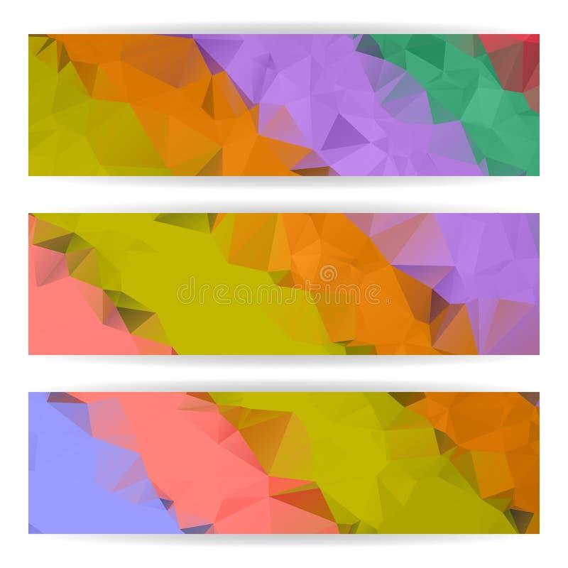 Αφηρημένα ζωηρόχρωμα Polygonal εμβλήματα καθορισμένα διανυσματική απεικόνιση