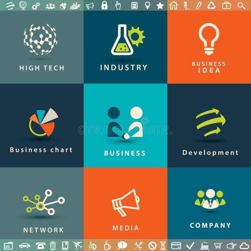 Αφηρημένα διανυσματικά εικονίδια επιχειρήσεων και τεχνολογίας ελεύθερη απεικόνιση δικαιώματος
