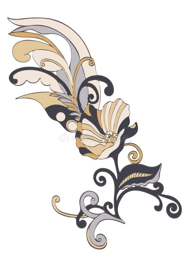 Αφηρημένα κινούμενα σχέδια λουλουδιών, διάνυσμα hand-drawn ελεύθερη απεικόνιση δικαιώματος