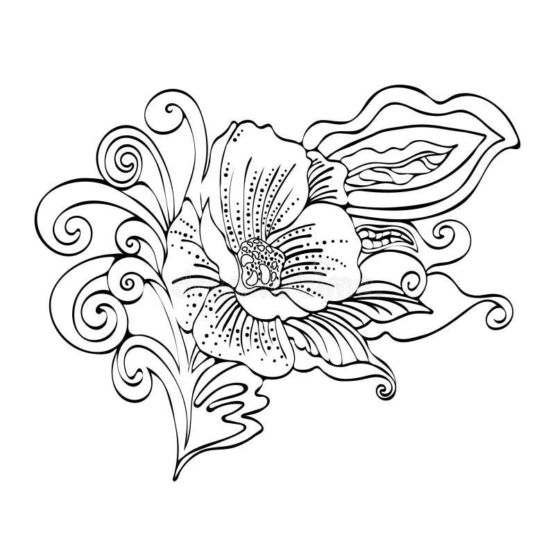 Αφηρημένα κινούμενα σχέδια λουλουδιών, διανυσματικό γραπτό περίγραμμα hand-drawn διανυσματική απεικόνιση