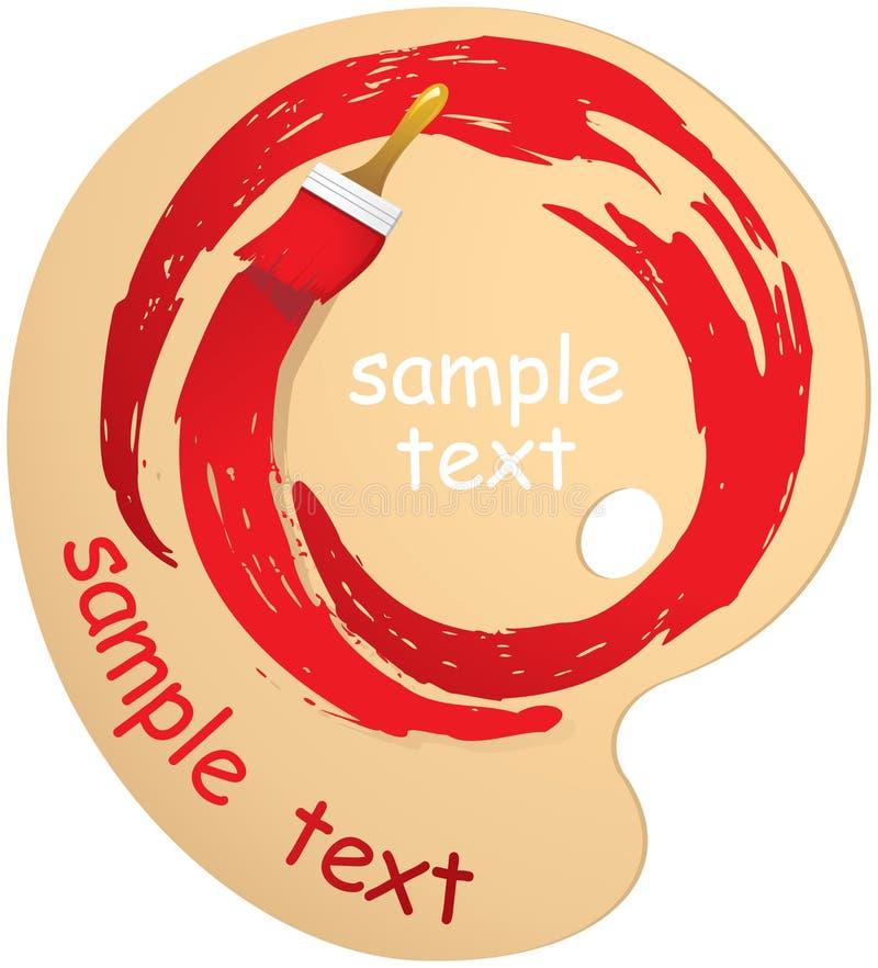 Αφηρημένα κτυπήματα των κόκκινων χρωμάτων σε έναν κύκλο και των βουρτσών σε ένα ξύλο διανυσματική απεικόνιση