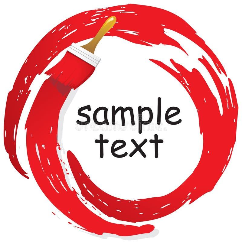 Αφηρημένα κτυπήματα των κόκκινων χρωμάτων σε έναν κύκλο και τις βούρτσες ελεύθερη απεικόνιση δικαιώματος