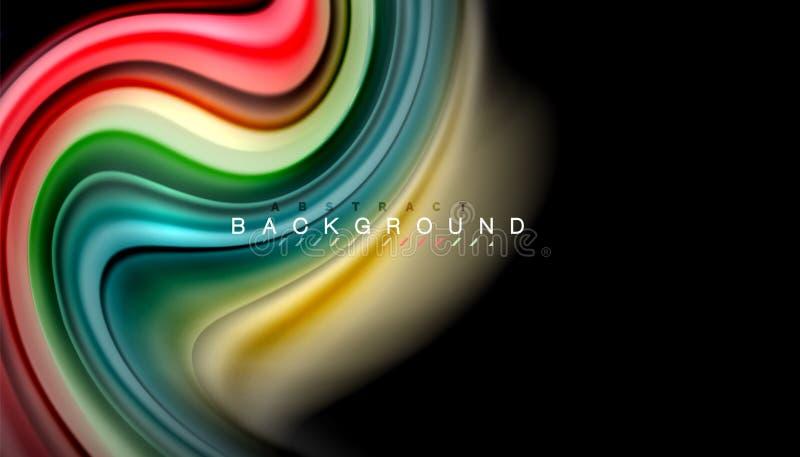 Αφηρημένα κυμάτων λωρίδες χρώματος ύφους ουράνιων τόξων γραμμών ρευστά στο μαύρο υπόβαθρο διανυσματική απεικόνιση