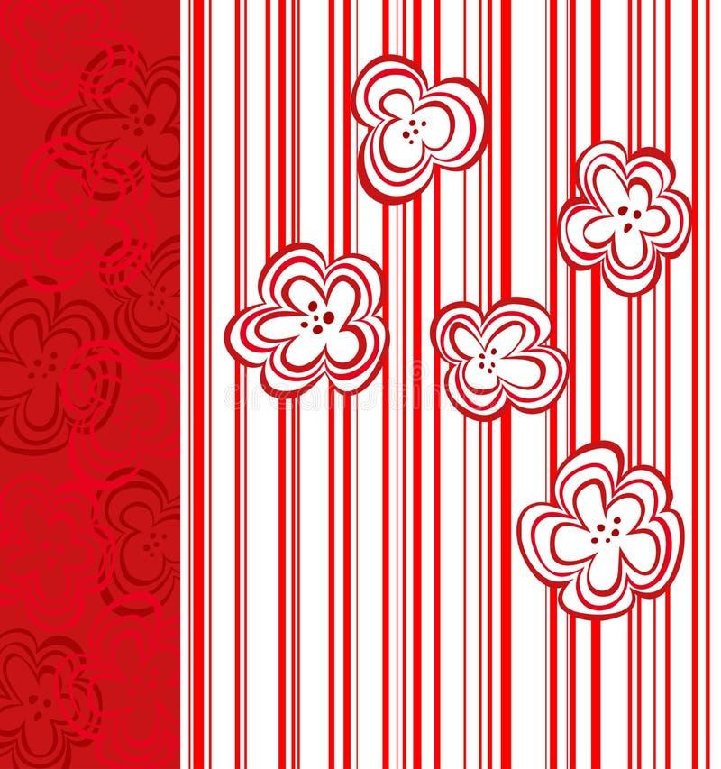 αφηρημένα κόκκινα λωρίδες λουλουδιών σχεδίου απεικόνιση αποθεμάτων