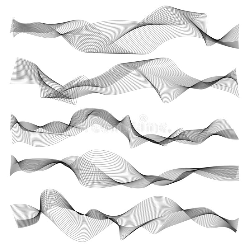 Αφηρημένα κύματα Γραφικά στοιχεία ηχιτικών ή υγιών κυμάτων γραμμών, κυματιστή σύσταση που απομονώνεται στο άσπρο υπόβαθρο ελεύθερη απεικόνιση δικαιώματος