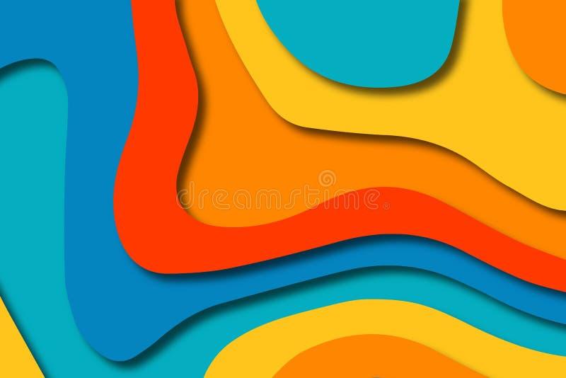 Αφηρημένα κύματα κινούμενων σχεδίων τέχνης εγγράφου Το έγγραφο χαράζει το υπόβαθρο Σύγχρονο πρότυπο σχεδίου origami Υπόβαθρο περι στοκ φωτογραφία