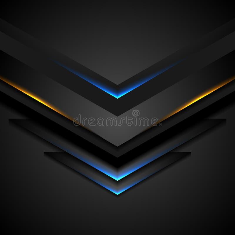 Αφηρημένα μαύρα βέλη με το μπλε πορτοκαλί φως πυράκτωσης ελεύθερη απεικόνιση δικαιώματος