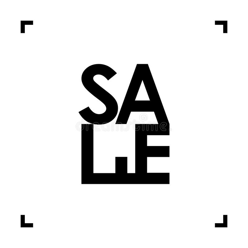 Αφηρημένα μαύρα σημάδι πώλησης ` ` και πλαίσιο παρενθέσεων στο άσπρο υπόβαθρο επίσης corel σύρετε το διάνυσμα απεικόνισης διανυσματική απεικόνιση