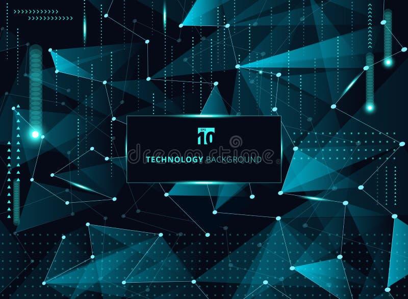 Αφηρημένα μπλε τρίγωνα τεχνολογίας και χαμηλό πολύγωνο με τις γραμμές ομο διανυσματική απεικόνιση