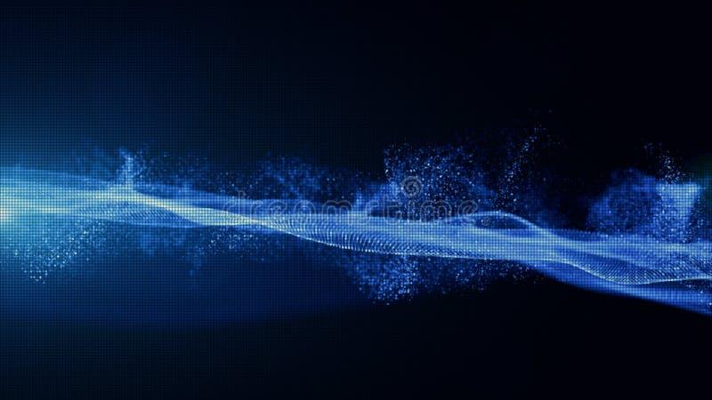 Αφηρημένα μπλε ψηφιακά μόρια χρώματος με τη σκόνη και το ελαφρύ υπόβαθρο στοκ φωτογραφίες
